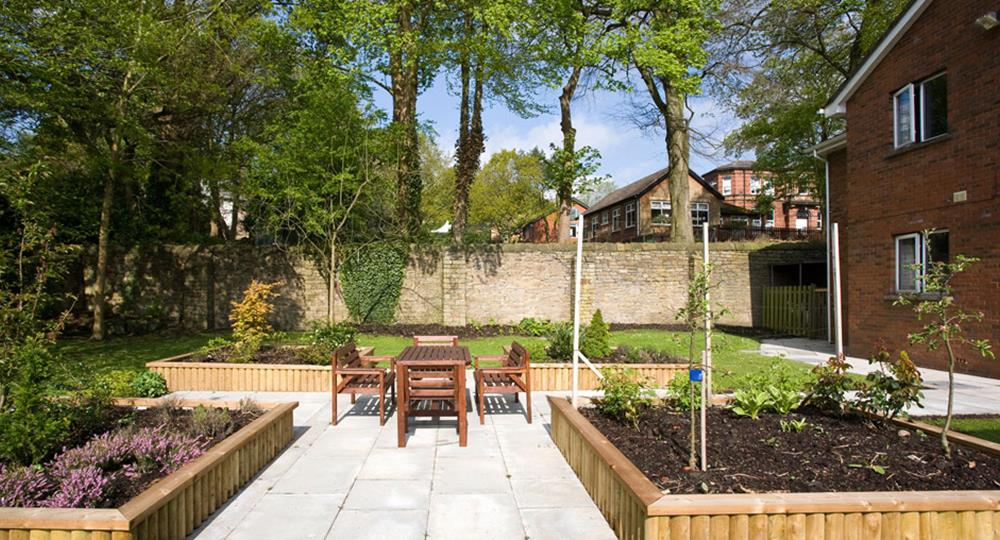 garden of a care home in Blackburn
