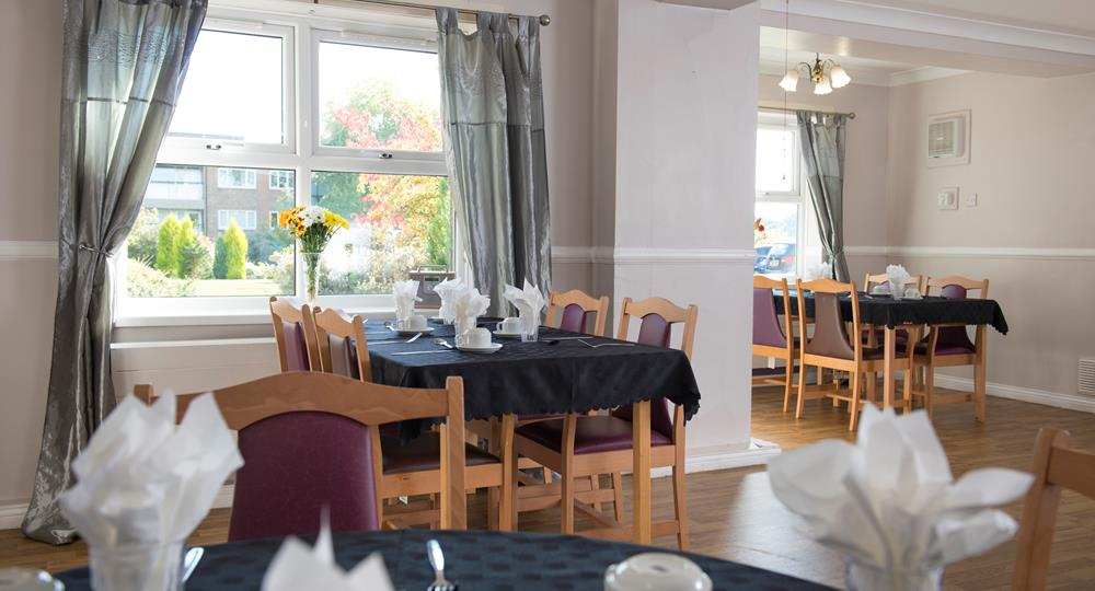 dining area of a care home in Bishop Auckland
