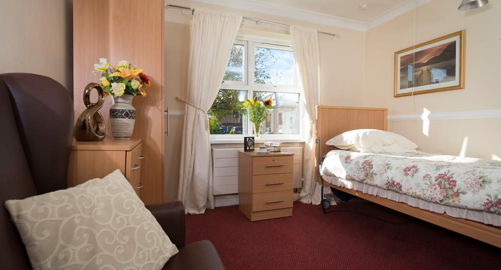 bedroom of a care home in Bishop Auckland