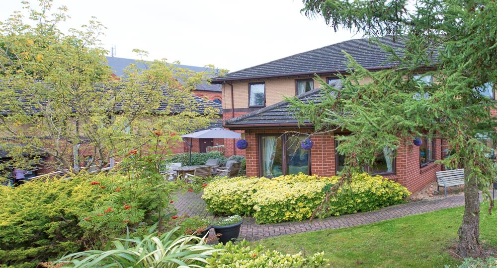 landscaped gardens of a Derbyshire care home
