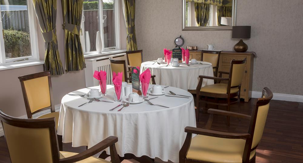 dining area of a care home in Bury