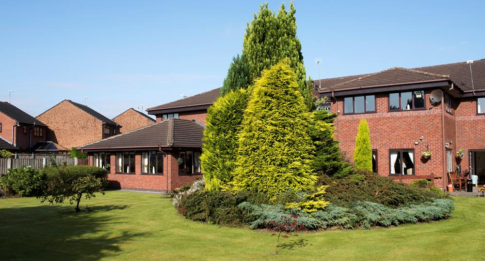 gardens of a care home in Bury