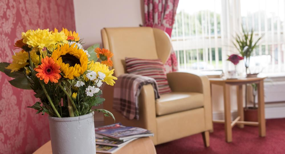 lounge area of a care home in Wigan