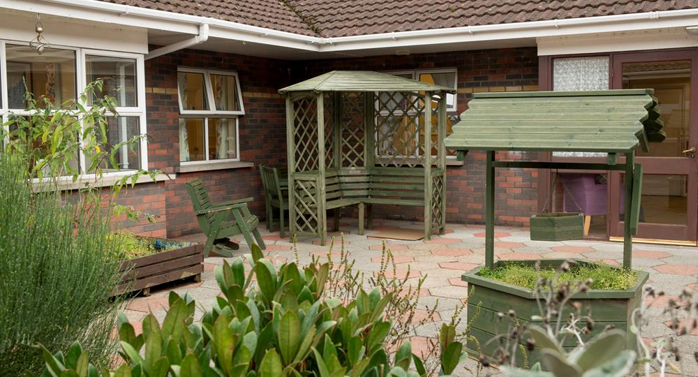 patio area of a care home in Ballymena